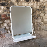 Industrial White Mirror with Shelf