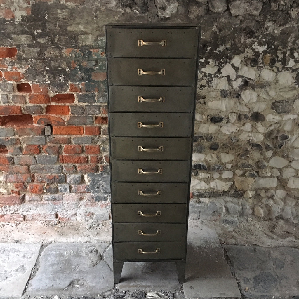 A Tall And Thin Industrial Metal Drawer Unit With 10 Drawers From The Consortium Romsey Winchester Hampshire Specialists In Vintage Retro Antique Industrial Furniture The Consortium Winchester And Romsey Hampshire