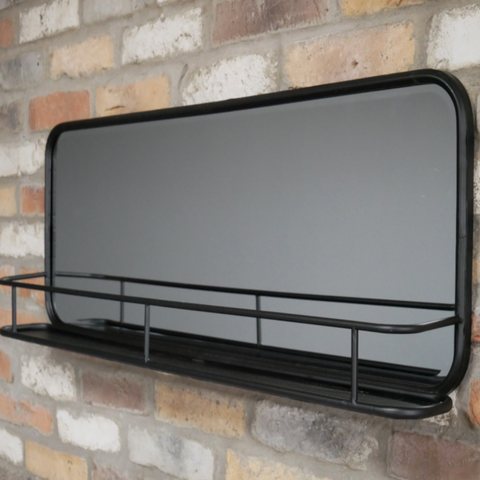 Industrial Black Shelf with  Mirror