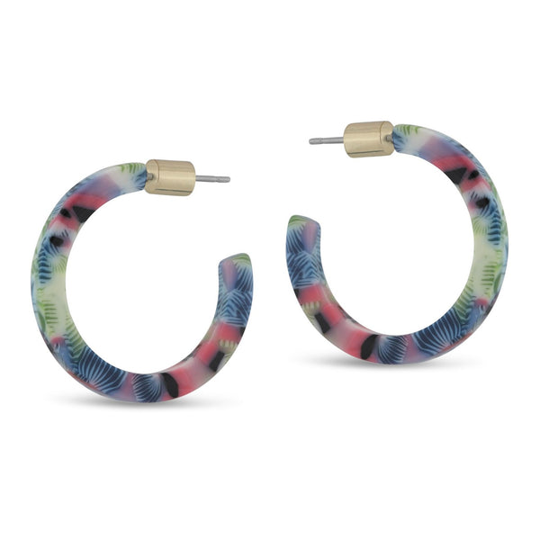 Isla Tiny Hoop Resin Earrings - Pink/Blue/Green