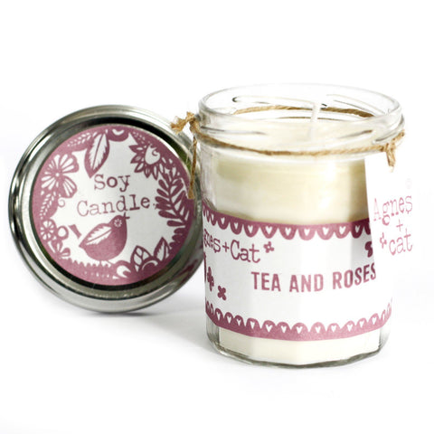 Jam Jar Candle - Tea and Roses