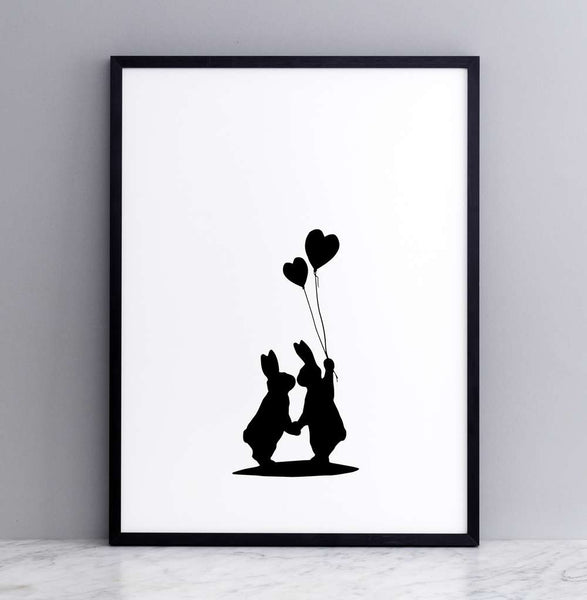 Lovestruck Rabbit Print - Framed