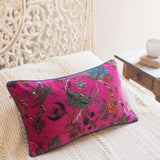 Purple Floral Velvet Cushion
