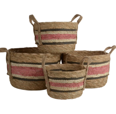 Natural/Rose Corn And Straw Basket With Handles