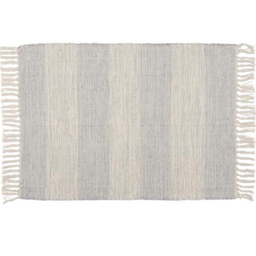 Natural and Light Blue Cotton Floor Rug 60 x 90 cm