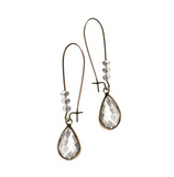 Vintage Drops Elongated Hoops, Clear/Bronze