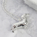 Silver Sausage Dog Necklace
