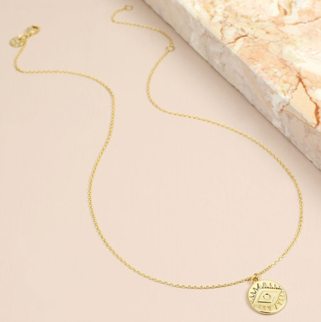 Gold Stamped Eye Necklace