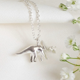 Silver Triceratops Dinosaur Necklace