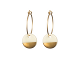 Porcelain Disc Earrings- Gold Dipped on Gold Hoops