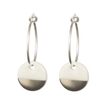Porcelain Disc Earrings- Silver Dipped on Silver Hoops