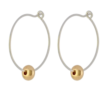Silver Large Gold Bead Hoop Earrings