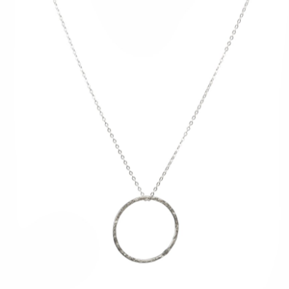 Silver Hammered Hoop Necklace