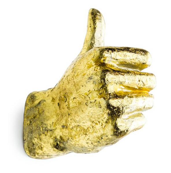 Gold Thumbs Up Hand Hook