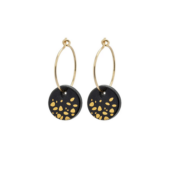 Porcelain Black Haze Gold Earrings