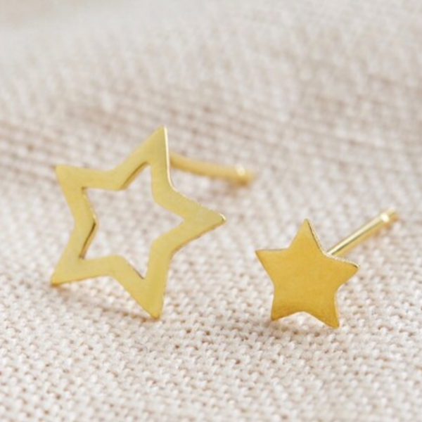 Mismatch Star Stud Earrings - Gold