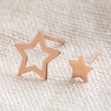 Mismatch Star Stud Earrings - Rose Gold