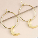 Moon Charm Hoop Earrings