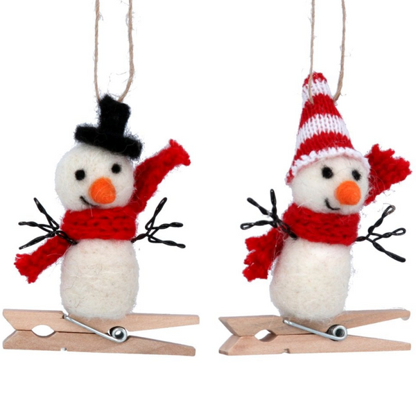 Snowman Peg Wool Decoration
