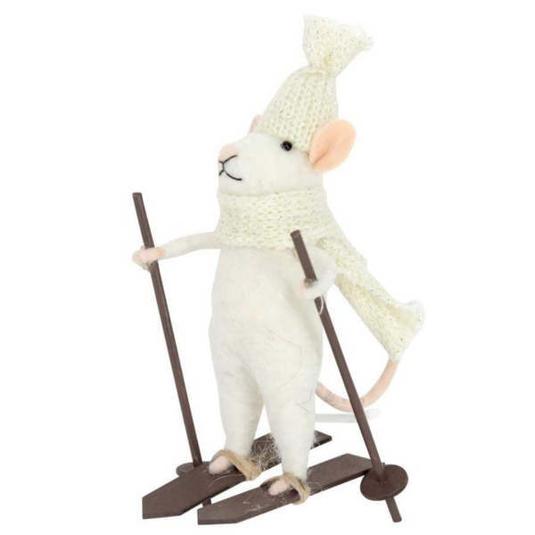 White Mouse on Skis Wool Mix Decoration