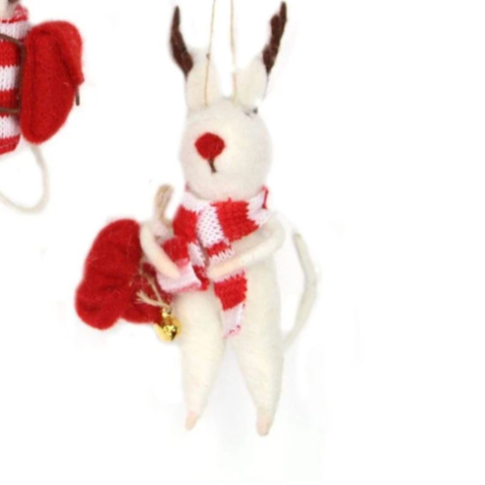 Deer with Stripy Scarf Felt Decoration
