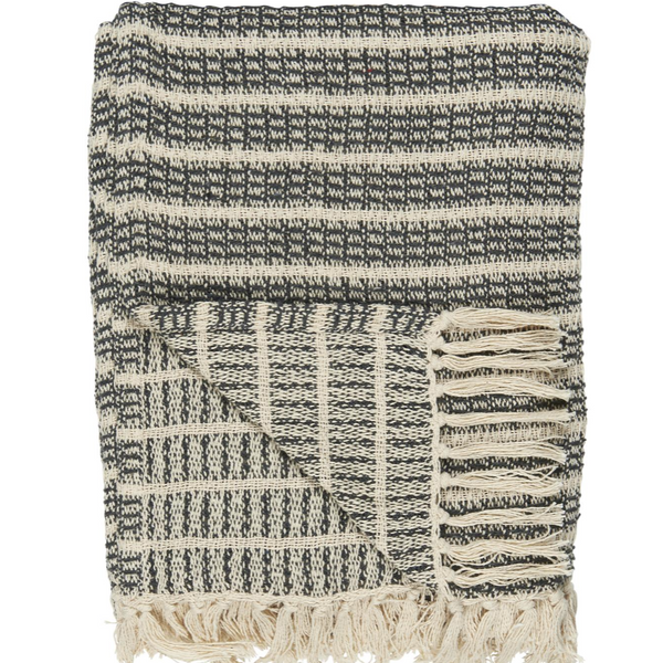 Grey and Natural Stripe Cotton Throw