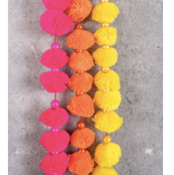 Neon Hanging Pom Pom Garlands with Bell