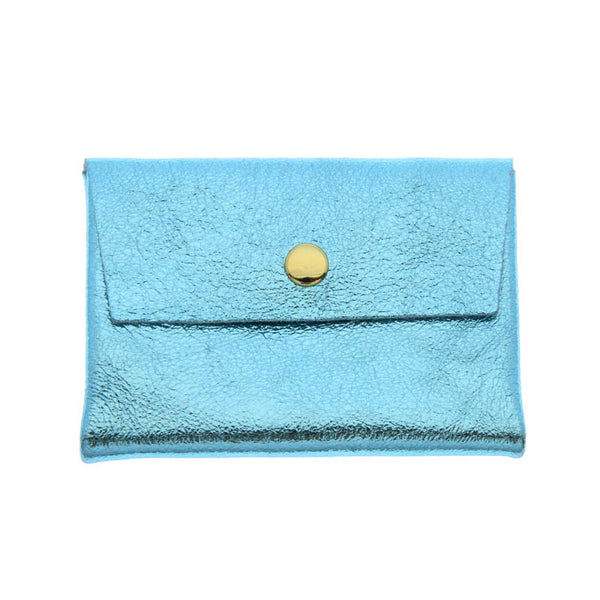 Leather Coin Purse - Metallic Blue