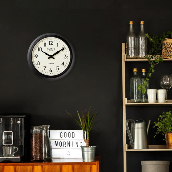 Smiths Retro Wall Clock Black - 38cm