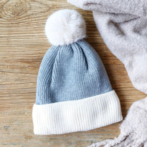 Soft Knit Pom Pom Beanie Hat Grey