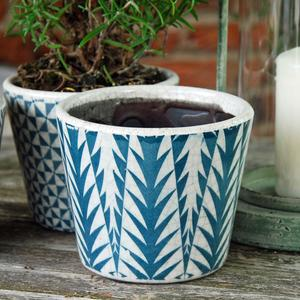 Tropical Print Glazed Plant Pot - Teal