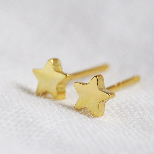 Tiny Gold Plated Star Earrings