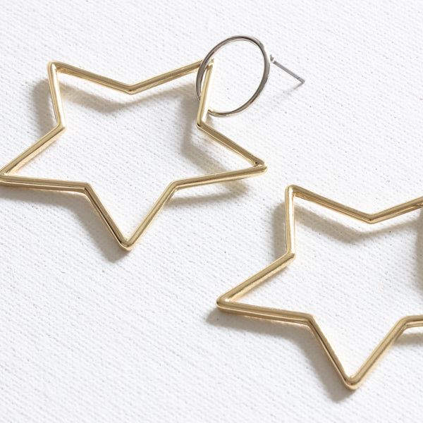 Two Tone Star Earrings