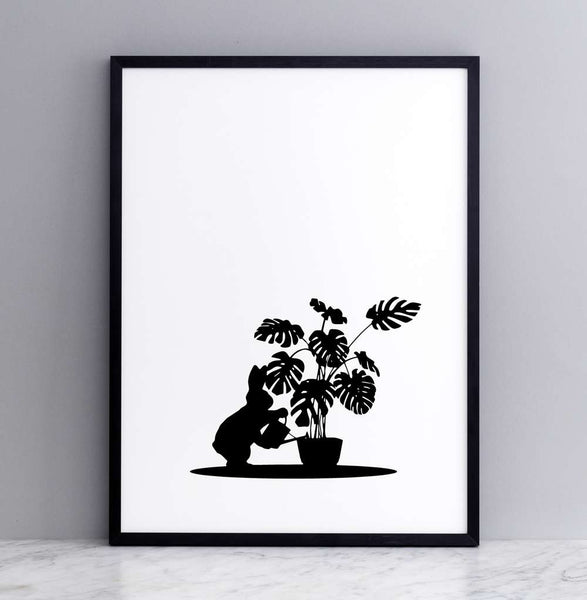 Watering Rabbit Print - Framed