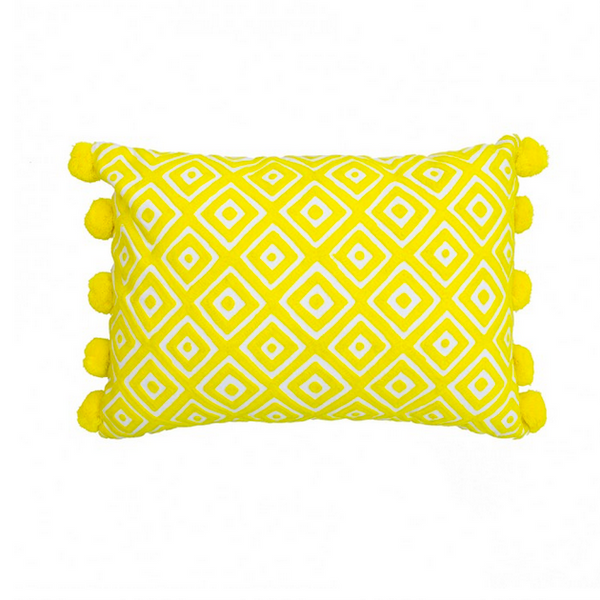 Yellow Embroidered Cushion