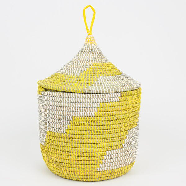 Yellow and White Basket with Lid