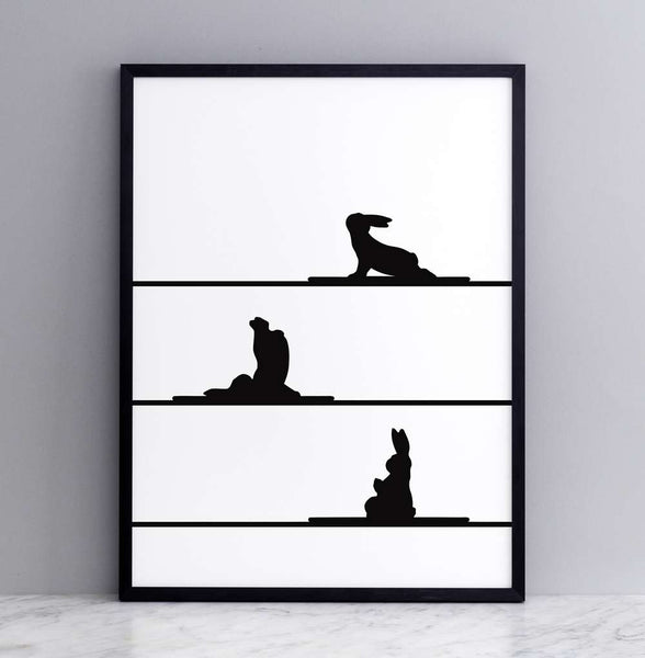 Yoga Rabbit Print - Framed