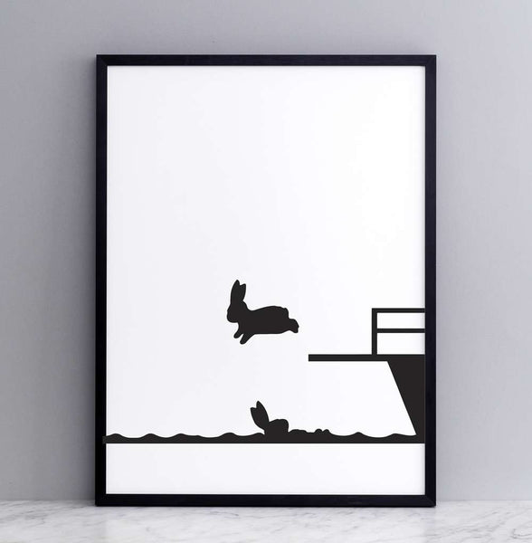 Diving Rabbit Print - Framed