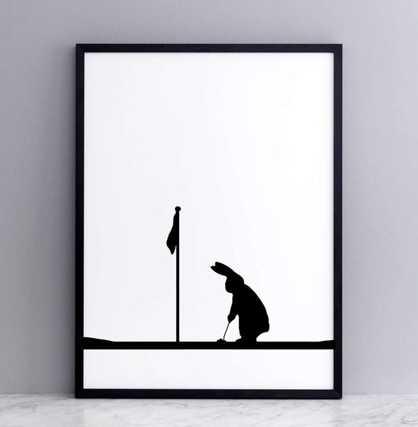 Golf Rabbit Print - Framed