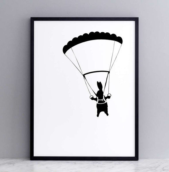 Parachuting Rabbit Print - Framed