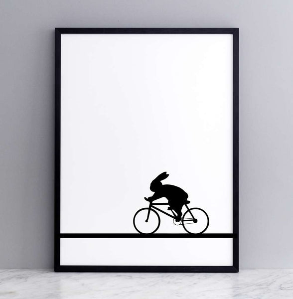 Racing Bike Rabbit Print - Framed