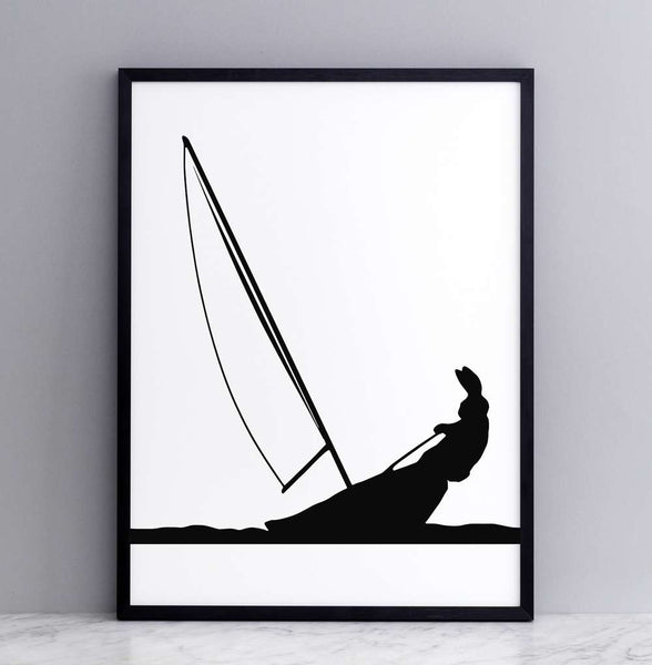 Sailing Rabbit Print - Framed