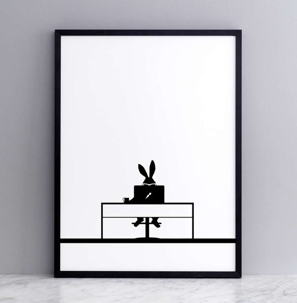 Working Rabbit Print - Framed