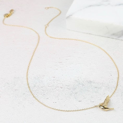 Hummingbird Necklace in Gold