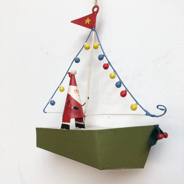 Light up Boat Santa