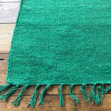 Bright Green Cotton Plain Rug 90x150cm