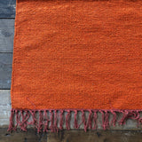 Orange Cotton Plain Rug