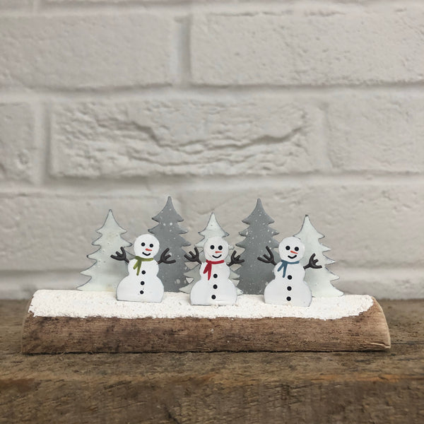 Snowman Trio and Trees Standing Decoration