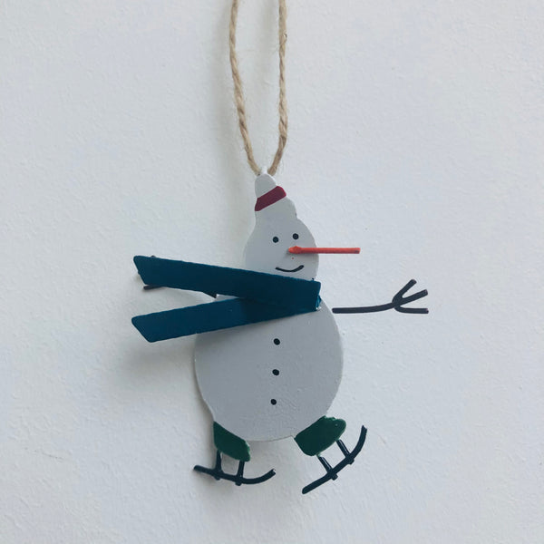 Miniature Blue Snowman hanging decoration