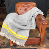Grey and Yellow Stripe Fishbone Blanket